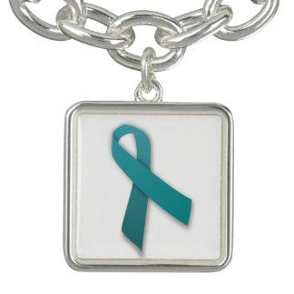 Teal Ribbon Charm bracelet
