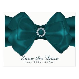 Teal Ribbon & Diamonds Elegant Glam Save the Date Postcard