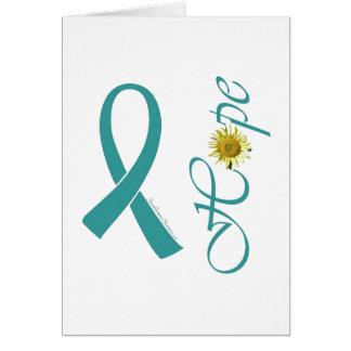 Teal Ribbon Hope Ovarian Cancer Card