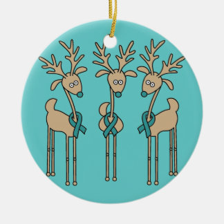 Teal Ribbon Reindeer (Ovarian Cancer) Round Ceramic Decoration