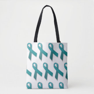 Teal Ribbon two-sided tote