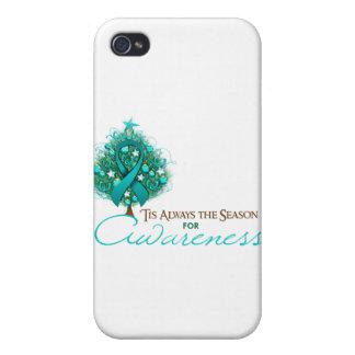 Teal Ribbon Xmas Awareness Season iPhone 4/4S Cover