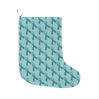 Teal Ribbons Tiled Pattern Large Christmas Stocking