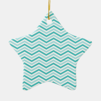 Teal, Robins Egg Blue, and White Chevron Stripes Ceramic Star Decoration