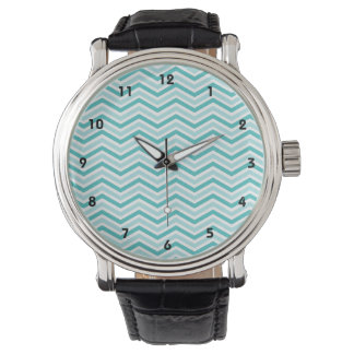Teal, Robins Egg Blue, and White Chevron Stripes Watches