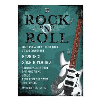 Teal Rock N Roll Star Birthday Party Invitations