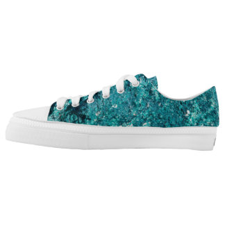 Teal rock pattern printed shoes