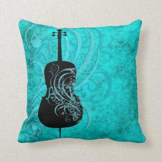 Teal Rococo Cello Pillow