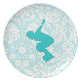 Teal Rollerblading Plate