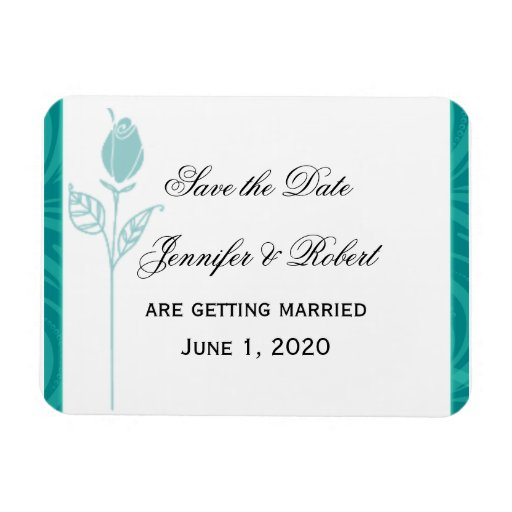 Teal Rose Graphic Wedding Save the Date Vinyl Magnets