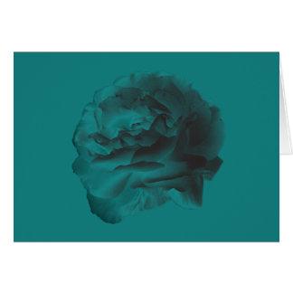Teal Rose on Teal, Blank Inside Greeting Card