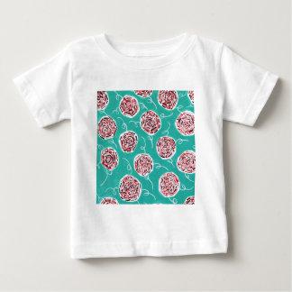 Teal Rose Pattern Baby T-Shirt