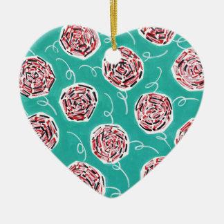 Teal Rose Pattern Ceramic Ornament