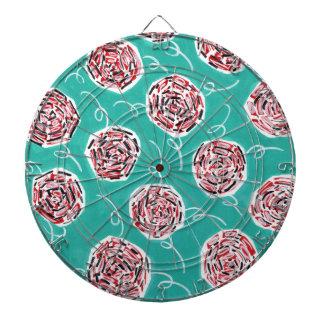 Teal Rose Pattern Dartboard