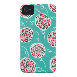 Teal Rose Pattern iPhone 4 Case
