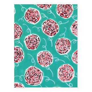 Teal Rose Pattern Postcard