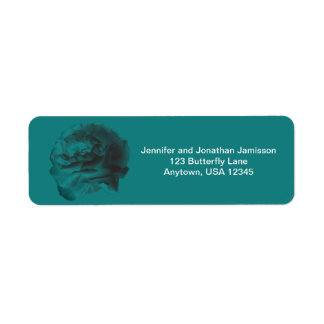 Teal Rose Return Address Labels