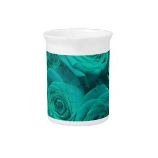 teal roses pitcher