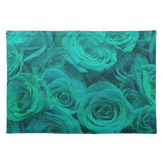 teal roses placemat