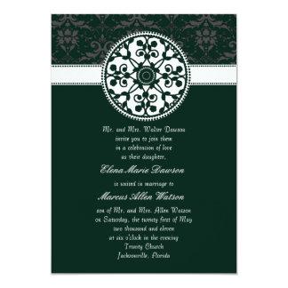 "Teal Rosette Wedding Invitation 5"" X 7"" Invitation Card"