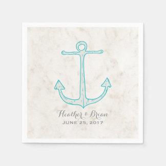Teal Rustic Anchor Wedding Disposable Serviette