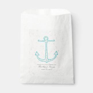 Teal Rustic Anchor Wedding Favour Bag
