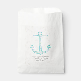Teal Rustic Anchor Wedding Favour Bags