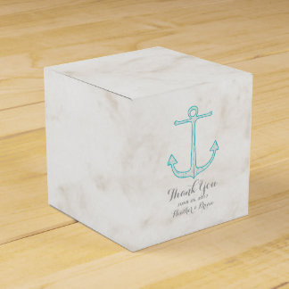 Teal Rustic Anchor Wedding Party Favour Boxes