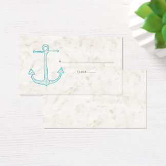 Teal Rustic Anchor Wedding Place Cards