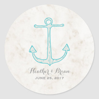 Teal Rustic Anchor Wedding Round Sticker