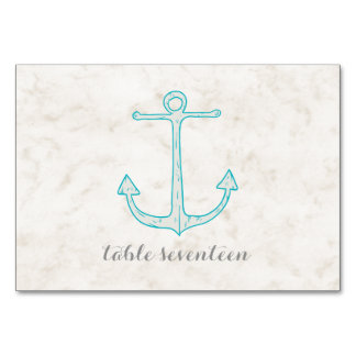 Teal Rustic Anchor Wedding Table Card