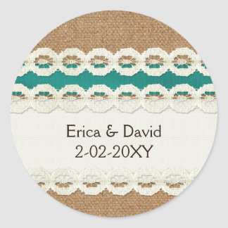 Teal Rustic burlap and lace country wedding Classic Round Sticker