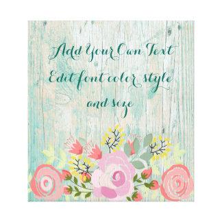 Teal rustic floral canvas print
