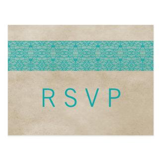 Teal Rustic Lace RSVP Postcard