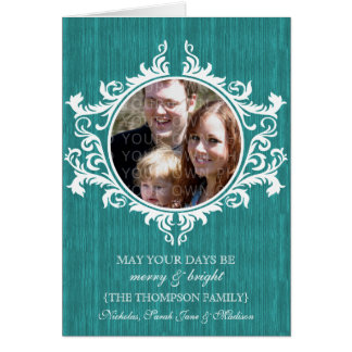 Teal Rustic Swirls Holiday Photo Card