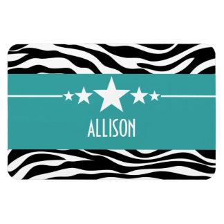 Teal Sassy Star Zebra Premium Magnet