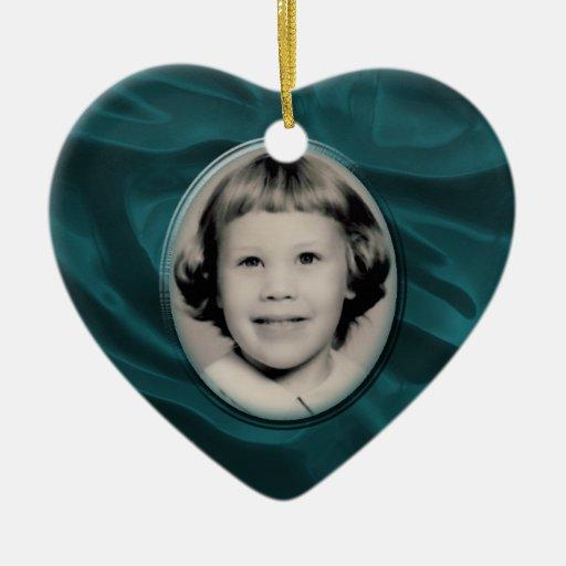 Teal Satin Heart Memorial Ornament