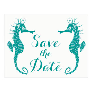 Teal Save The Date Seahorse Engagementt Wedding Postcard
