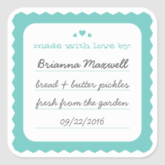 Teal Scallop Hearts Food Gift Label Square Sticker