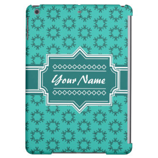 Teal Scribble Hand Hrawn Floral Personalized iPad Air Cover