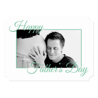Teal Script Happy Fathers Day Photo Card