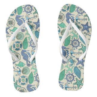 Teal Sea Animals Pattern Thongs