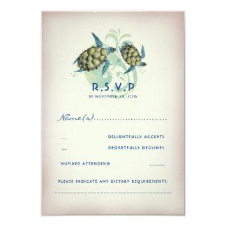 Teal Sea Turtle Wedding RSVP Card
