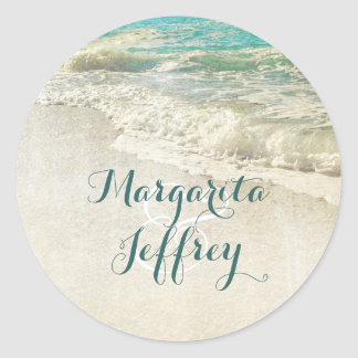 Teal Sea Waves Beach Wedding Classic Round Sticker