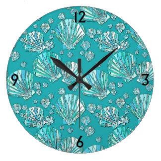 Teal, seafoam sea shells, turquoise background large clock