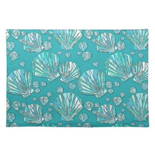 Teal, seafoam sea shells, turquoise background place mat