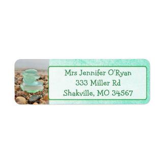 Teal Seaglass Ocean rocks Return Address Labels