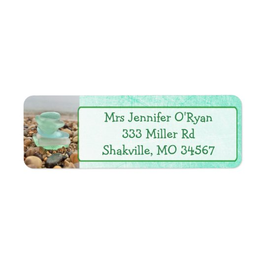 Teal Seaglass Ocean rocks Return Address Labels