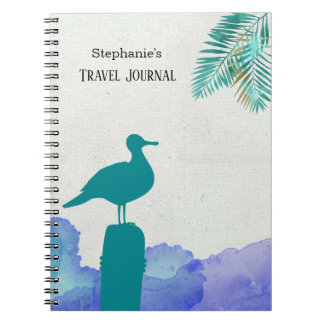 Teal Seagull and Blue Ocean Waves Notebook