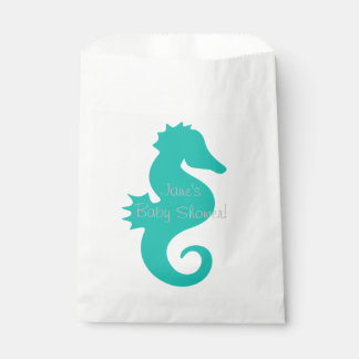 Teal Seahorse Baby Shower Favor Bags